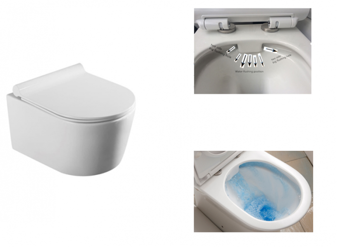Sanitary Ware Bathroom Wall Hanging Wc / Rimless Wall Hanging Toilet