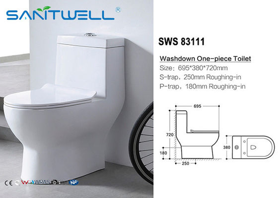 Sanitary Ware One Piece Toilet , Wall Mounted WC  Dual Flush Mechanism