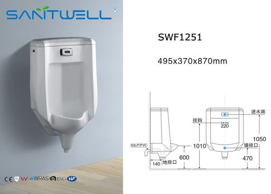China Ceramic Retrofit Washdown Urinal SWF 1251 495*370*870 mm size factory