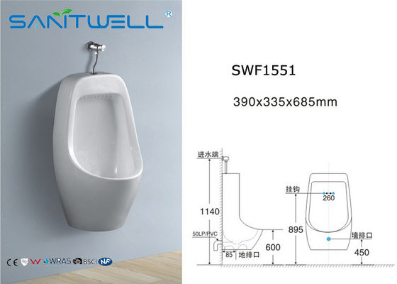China High Temperature Wall Mounted Urinal Toilet Bowl For Male 390*335*685 mm factory