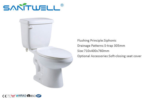 Close Coupled Toilet Ceramic WC 710*400*760 mm Size