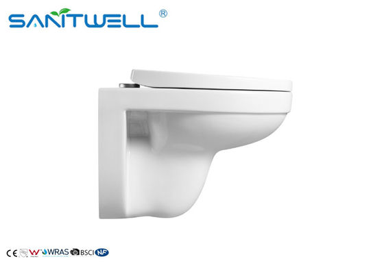Elongated P Trap Sanitary Wall Mounted WC / Bowl Hanging Toilet 24.5 KGS