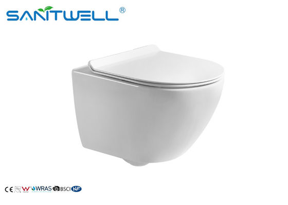 Ceramic Wall Mounted WC Sanitary Ware Rimless Small Size Wall Mounted Toilet