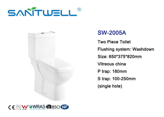 China White Color Close Coupled Water Efficient Toilets Ceramic Material 650 * 375 * 820mm factory