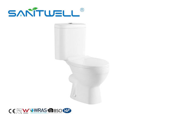 China White Comfortable Two Piece Wc Toilet With Washdown Flushing System factory