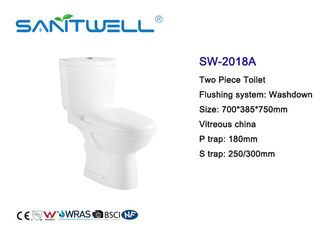 China Modern 2 Piece Toilet Close Coupled Pipe Glazed With Washdown Flushing System factory
