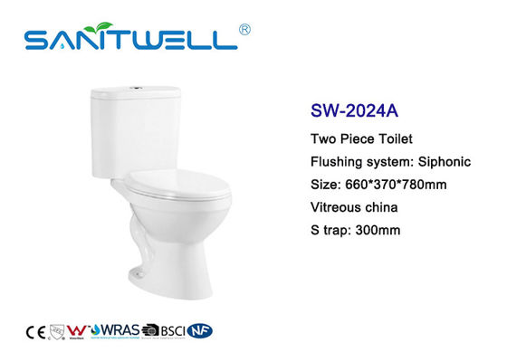 SW2024A Comfortable Close Coupled Toilet With Two Piece Ceramic Siphon Flushing
