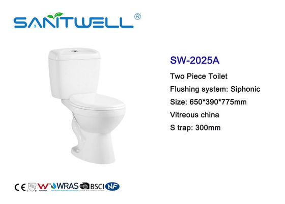 Two Piece Siphonic Wc Toilet Close Coupled Toilet S Trap CE Certification
