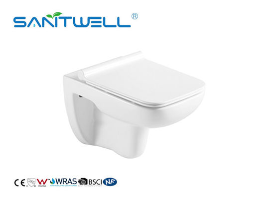 Rimless Flushing Wall Hanging Toilet Smooth Sewage Compact Structure ODM / OEM