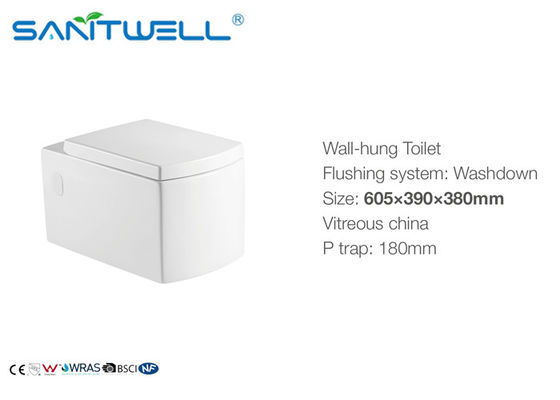 Compact One Piece Ceramic Square Wall Hung Toilet For Home Hotel Bathroom