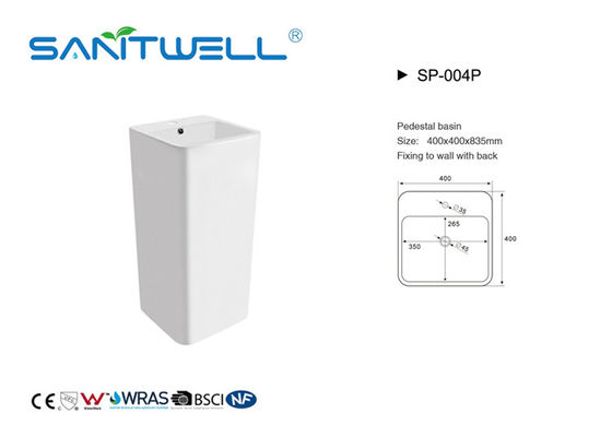 White Color Bathroom Pedestal Basins Square Shape Mounting Hardware Included With Overflow
