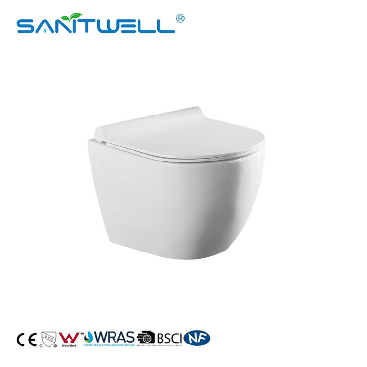 Rimless flushing ceramic wall hanging wc  white color for bathroom supplier