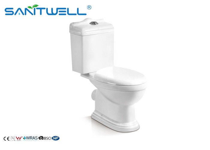 Dual-Flush Modern Ceramic Toilet Two Pieces WC in Bathroom White supplier