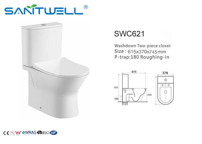 Round Shape Dual Flush Toilet  Universal Washdown Two Piece Sanitary Ware supplier