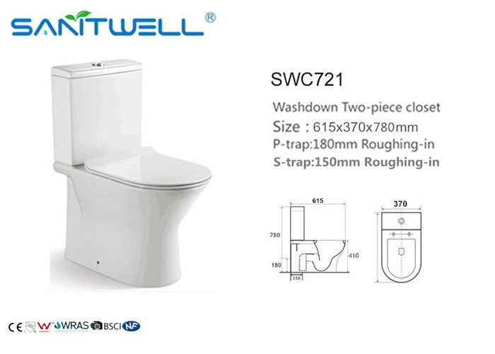 Gravity Flushing System Ceramic Toilet Western Sitting WC Two Piece supplier
