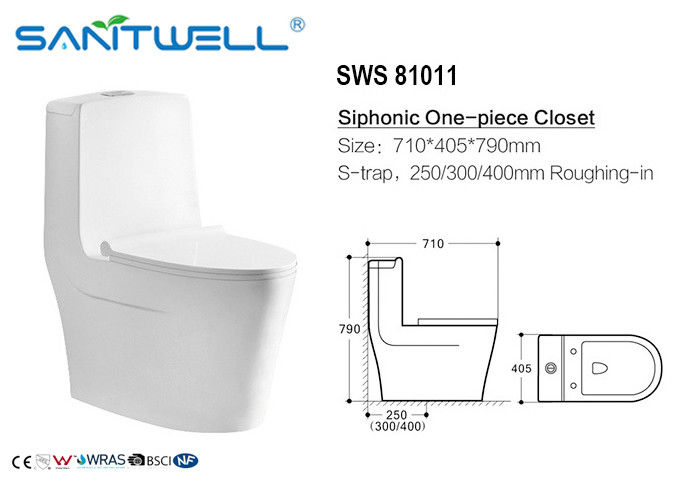 Sanitary ware siphonic wc one piece S trap toilet 710*405*790 mm Size