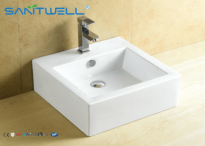 Square Ceramic Counter Top Wash Basin 470×475×160 Mm With CE Certificate