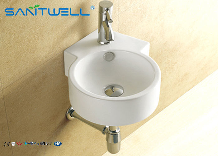 Hotel Ceramic wall mount bathroom sink  for living room , small wall mount sink supplier