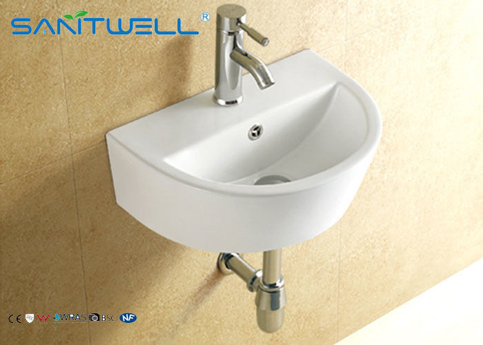 Small counter type hand wash basin wall hanging ceramic white 445*330*155 mm supplier