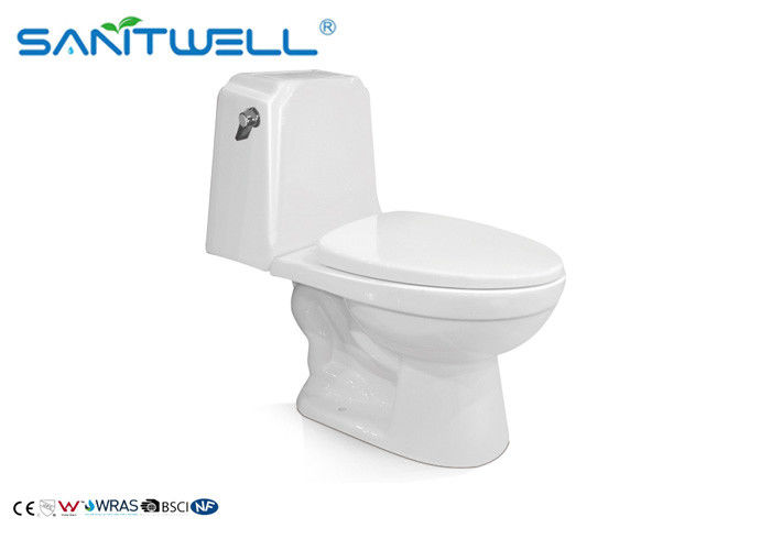 P Trap One Piece Toilet 720 * 380 * 730mm Ceramic Material White Color SWC2821 supplier