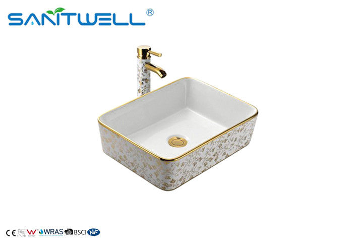 Table Top Golden Ceramic Art Basin For Lavatory AB8025D 500×500×165mm supplier