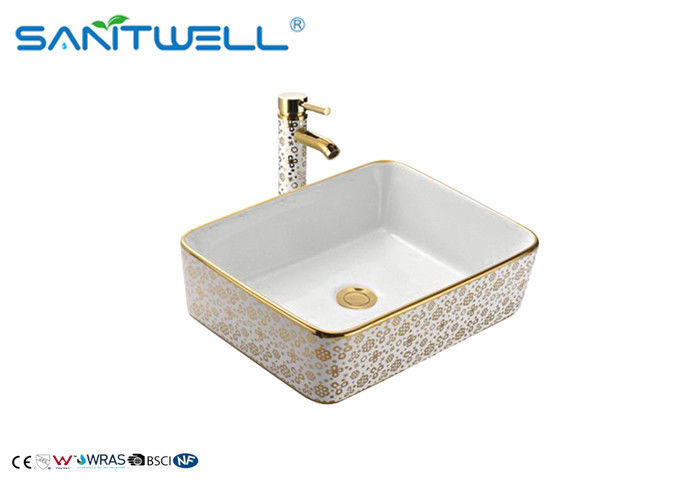 Gorgeous Bathroom Ceramic Basin / Flower Gold Counter Top Wash Basin AB8025G supplier