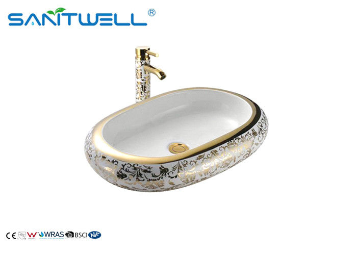 Golden Decal Ceramic Art Basin For Lavatory AB8032A 635×430×105mm