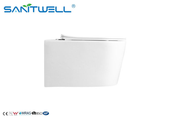 Rimless Ceramic Wall Mounted Toilet Gravity Flushing With White Color supplier