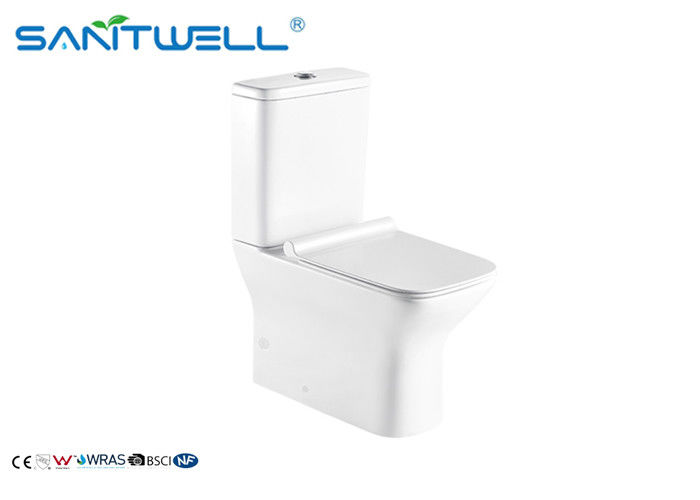 Floor Standing Close Coupled Toilet Rimless Two Piece Ceramic Material supplier
