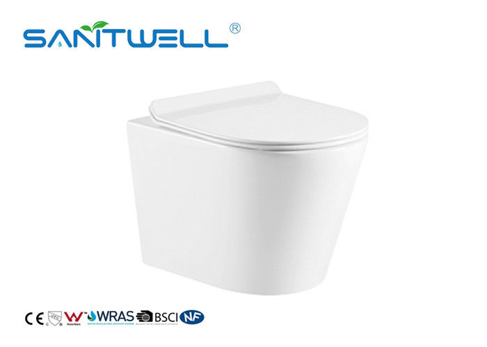 Rimless Ceramic Wall Mounted Toilet Gravity Flushing With CE Certification supplier