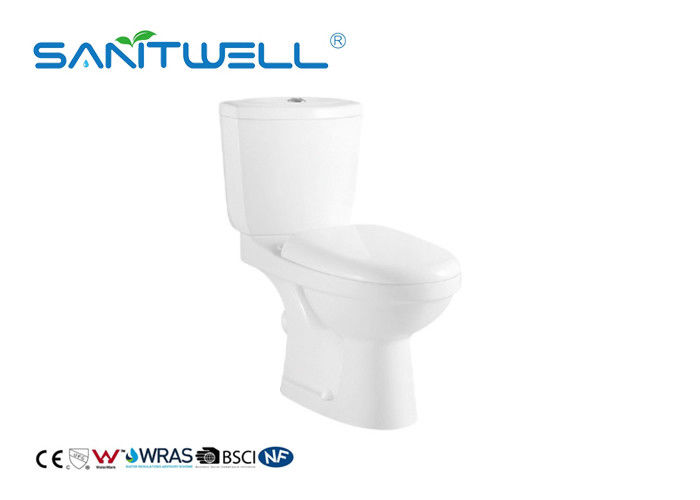 Modern 2 Piece Toilet Close Coupled Pipe Glazed With Washdown Flushing System supplier
