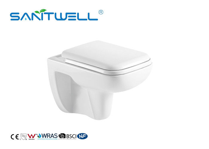 Sanitary Ware Rimless Wall Mounted WC Toilet With White Color P Trap supplier