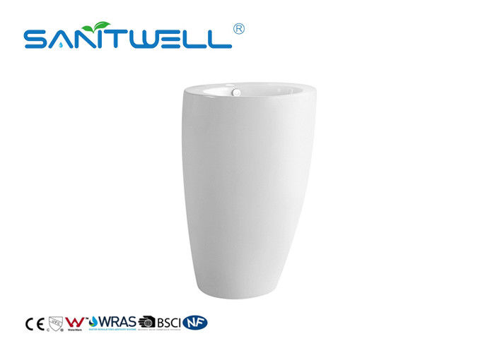 Modern Design Bathroom Pedestal Basins White Color With Compact Structure supplier