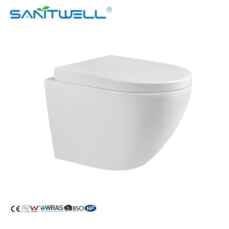 European CE Water Saving Bathroom Wall Hung Toilet Bowl With Toilet Seat