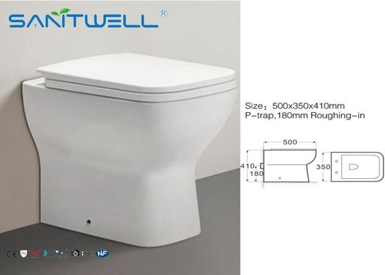 Comfort Height Close Coupled WC Pan Rim - Ex Ceramic Fully Back - To - Wall 500*350*410 mm