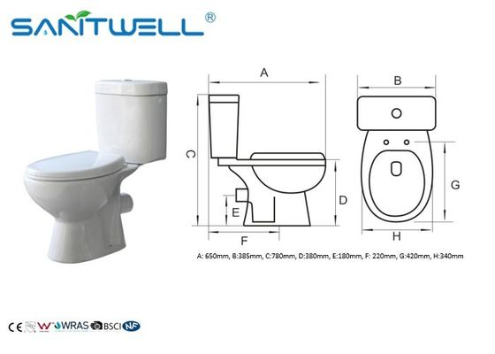 Popular Cheap Price Two Piece Washdown WC Toilet 665*360*725 mm