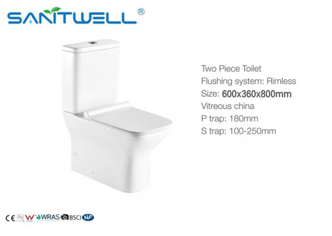Floor Standing Close Coupled Toilet Rimless Two Piece Ceramic Material