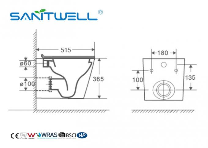 Rimless Ceramic Wall Mounted Toilet Gravity Flushing With CE Certification