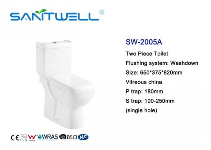 White Color Close Coupled Water Efficient Toilets Ceramic Material 650 * 375 * 820mm