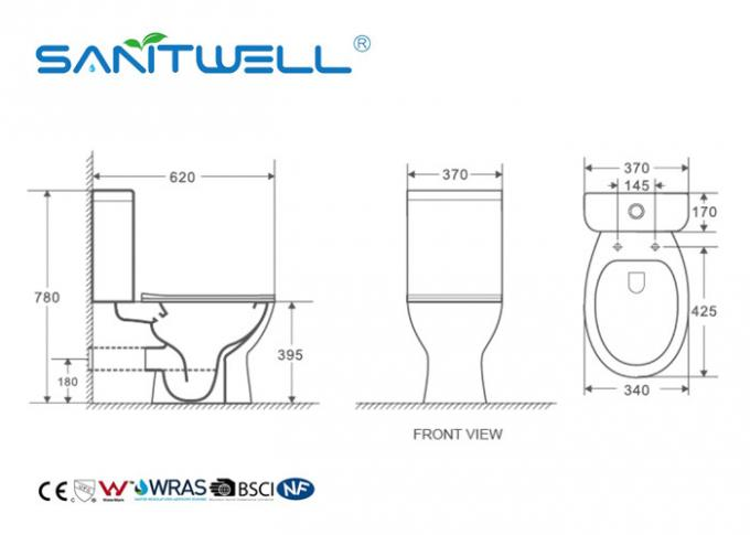 White Comfortable Two Piece Wc Toilet With Washdown Flushing System