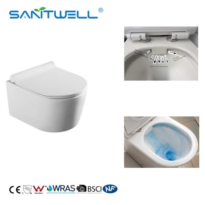 Rimless flushing ceramic wall hanging wc  white color for bathroom